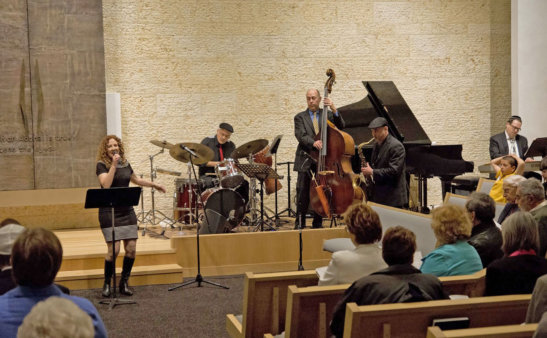 Musicians play during Shabbat service