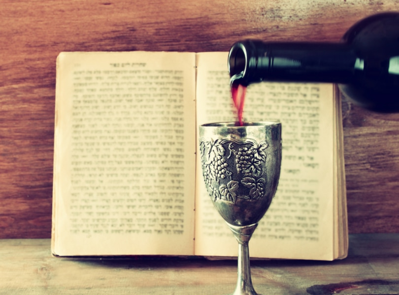 Wine Pouring into Kiddush Cup